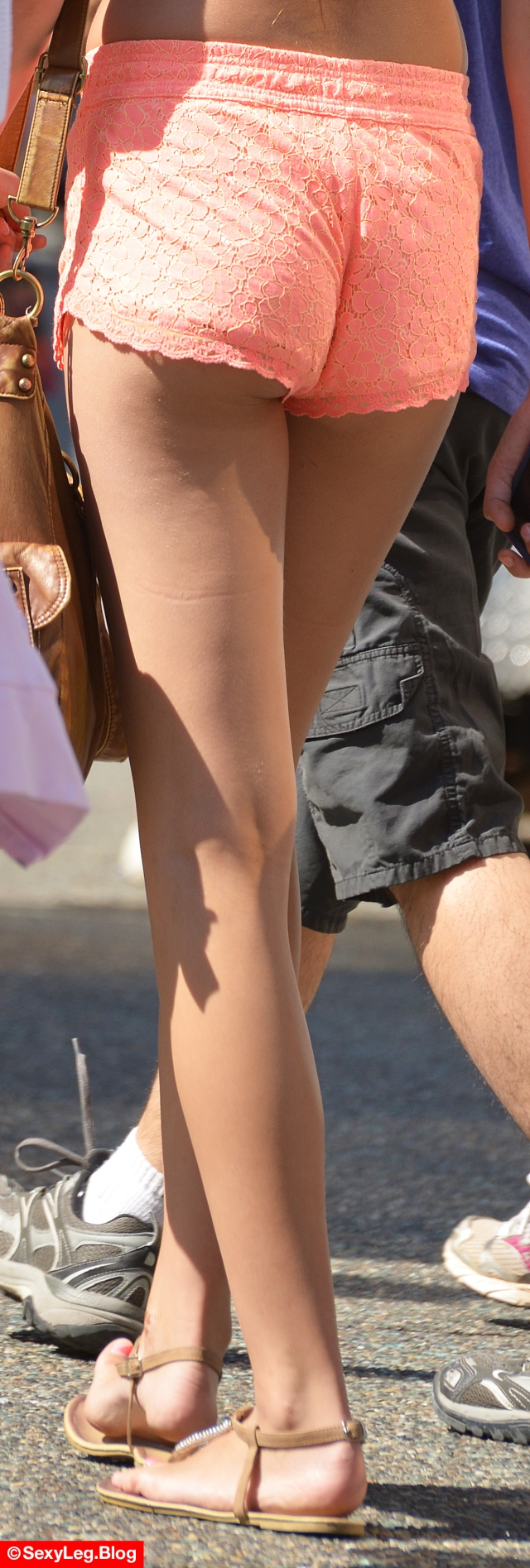 Candid Sexy Legs in Pink Shorts Showing Butt Cheeks
