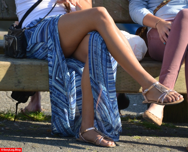 Candid Sexy Shiny Cross Legs in Long Skirt